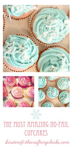 ~ EASIEST NO-FAIL CUPCAKE RECIPE - 1 cake mix (I use yellow cake mix or white cake mix), 3 eggs, 1 tsp almond flavoring.  YES, THAT'S IT, no water or oil or other liquids!  All you do is mix the ingredients together and fill cupcake liners halfway.  Bake in a 350 degree oven for 14 minutes, remove and let cool.