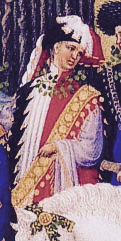 34. Les très riches heures, Mai. On retrouve encore Charles d'Orléans (père de Louis XII, roi de France) qui fut fait prisonnier à Azincourt par les anglais, et ne fut libéré que 25 ans plus tard, grâce au paiement d'une forte rançon par celle qui devait devenir sa femme !!
