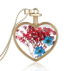 (6.7$)  Buy here - http://aiocq.worlditems.win/all/product.php?id=J0562G-3 - Fashion New Jewelry Romantic Transparent Crystal Glass Heart Shape Floating Locket Dried Flower Plant Specimen Golden/Silver Pendant Chain Necklace for Women Girls