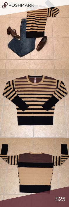 "🆕 🍁GORGEOUS, CHIC SWEATER 🍁  💰LOWEST $💰 ❤Absolutely gorgeous, unique tan; brown; and, black scoop neck sweater! ❤NWOT ❤Front of the sweater has a pinstriped pattern. ❤Back of the sweater has a color block pattern. ❤Measurements are approximately: * Chest = 21"" * Length = 25"" ❤100% acrylic  ⚠️Jeans and shoes are for display only.⚠️ ‼️FIRM PRICE‼️ ✳️BUNDLE OPTION✳️ 🚫NO TRADES🚫 Sweaters Crew & Scoop Necks"