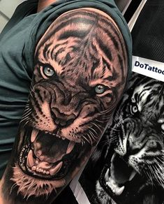 Grab your hot tattoo designs. Get access to thousands of tattoo designs and tattoo photos Arm Tattoos Tiger, Mens Tiger Tattoo, Tiger Face Tattoo, Animal Sleeve Tattoo, Lion Tattoo Sleeves, Tiger Tattoo Design, Cool Arm Tattoos, Leo Tattoos, Badass Tattoos