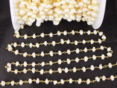 10 Feet Freshwater Pearl Rosary Style Beaded Chain 24k Gold Plated 3.5-4mm Beads | Jewellery & Watches, Loose Diamonds & Gemstones, Pearl | eBay!