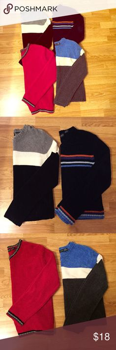 Bundle of 4 size large sweaters Bundle of 4 sweaters. All are size large in JUNIORS. One sweater has the inside tag cut off but I am pretty sure it is a size large like the other three. Lots of wear left. Laura Scott Sweaters
