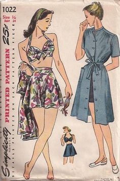 The smart brassiere top is gathered at the sides and the center front is softly crushed with a tie. The shoulder straps cross in the back and the lower edges tie in a bow. Trunks are attached to the flared skirt and belt. The button front frock is styled with a shoulder yoke. The neck is finished with a narrow band and a large patch pocket trims the skirt.