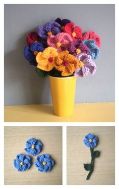 For knitting lovers, we have compiled a few Free Flower Knitting Patterns for you. They are beautiful and spring perfect knitted flowers. Free Knitted Flower Patterns, Loom Knitting Patterns, Knitting Designs, Free Knitting, Knitting Projects, Crochet Patterns, Knitting Ideas, Blanket Patterns, Craft Projects