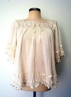 ♥ 1970s GAUZE & LACE Cream Bohemian Blouse by LolaVintage on Etsy.