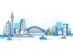 Sydney by Dmitrij for Fireart Studio on Dribbble Simple Illustration, Free Illustrations, Digital Illustration, Vector Design, Vector Art, Graphic Design, City Outline, Sydney Skyline, Skyline Painting