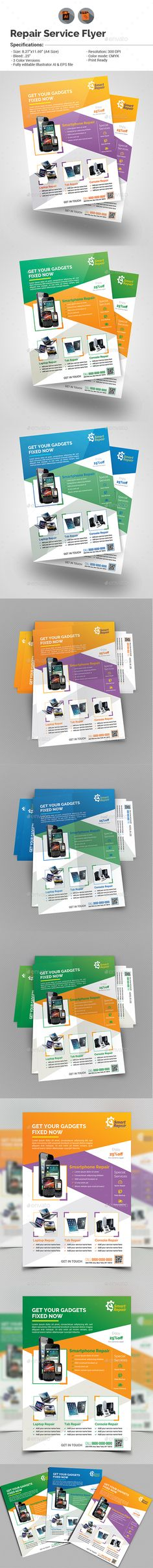 Repair Service Flyer Template Vector EPS, AI. Download here: http://graphicriver.net/item/repair-service-flyer-template/15504434?ref=ksioks