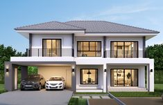 House design plan with 4 bedrooms. Style ModernHouse description:Number of floors 2 storey housebedroom 4 roomstoilet 3 roomsmaid's room House Balcony Design, Two Story House Design, 2 Storey House Design, House Outside Design, Classic House Design, Bungalow House Design, House Front Design, Home Design Floor Plans, Home Building Design