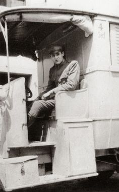 Hemingway in Italy, On August The International Red Cross was founded as part of the Geneva Convention. We found this photo of Ernest Hemingway in an American Red Cross Ambulance during World War I in Italy. Circa The American Red Cross was established in Ernest Hemingway, Ambulance, World War One, First World, International Red Cross, American Red Cross, Rare Photos, Rare Images, Vintage Photographs