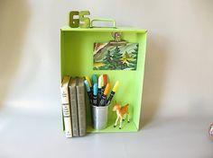 Vintage Metal Drawer bright green Industrial Storage by PassedBy