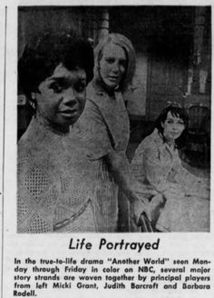 Micki Grant (Peggy), Judith Barcroft (Lenore), and Barbara Rodell (Lee), Another World, 1968 Another World, Soaps, Tv Shows, Drama, Classic, Life, Hand Soaps, Derby, Dramas