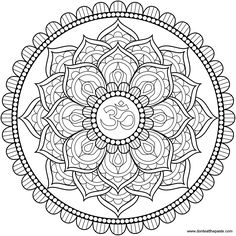 Lotus Om mandala to color or embroider- also available in jpg