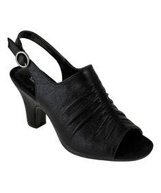 Lena Luisa Black Macy Peep-Toe Sandal by Lena Luisa #zulily #zulilyfinds