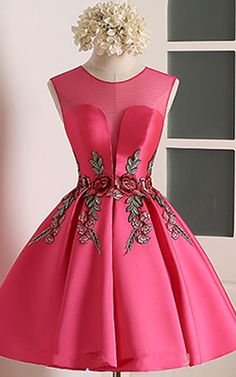 Knee Length A Line V Neckline Cap Sleeve Ruched Appliques Satin Fuchsia Short Homecoming Dress