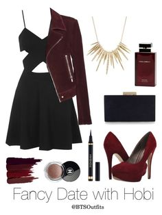 """""""Fancy Date with Hobi"""" by btsoutfits ❤ liked on Polyvore featuring Michael Antonio, Serge Lutens, Topshop, Dolce&Gabbana, Yves Saint Laurent, Chanel, Accessorize, Balenciaga and Alexis Bittar"""