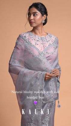Shark grey saree in organza embellished with zardozi, sequins, zari and flowers on the border in semi circle pattern and tassels on the pallu. Dress Indian Style, Indian Dresses, Indian Outfits, Tunic Designs, Saree Blouse Designs, Grey Saree, Pink Saree, Bridesmaid Saree, Beaded Wedding Gowns