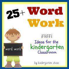 25 Fun & Free Ideas For Kindergarten Word Work Word Work Stations, Word Work Centers, Literacy Stations, Literacy Centers, Writing Centers, Reading Centers, Daily 5 Kindergarten, Kindergarten Centers, Kindergarten Phonics
