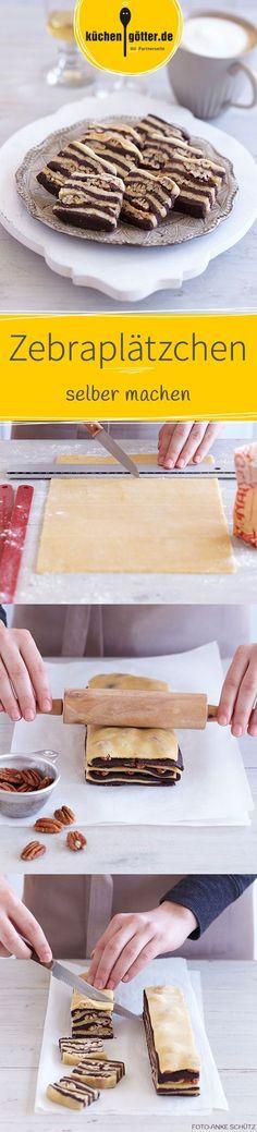 Für unsere hübschen Plätzchen wird einer zarter Mürbeteig abwechselnd mit Kakaoteig geschichtet. Zwischen den Schichten sorgen kernige Pecannüsse für Biss.