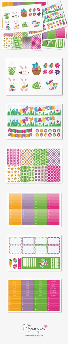 Colorful and fun easter themed sticker kit with 6 sheets made to fit your Erin Condren Vertical Planner. Includes headers, a smart sidebar, cute clipart, weekend banners, lots of icons and washi strips ready for fun decoration of your planner.