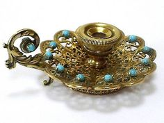 LOVELY ANTIQUE INDIAN SILVER GILT/TURQUOISE MINIATURE CHAMBERSTICK/CANDLEHOLDER