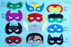 Felt Super Hero Character Mask by FatCatParties on Etsy