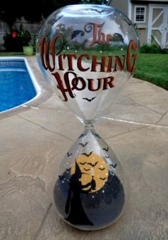 "HALLOWEEN* THE WITCHING HOUR* 16"" WITCHS HOUR GLASS HP bY Peggy G"