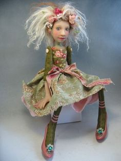 Polymer Head & neck, hands, with button jointed cloth body CAT Dreams Fae Creatures...  Folk Art Doll Pink Shoes | eBay