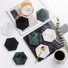 €7 Chic Green Marble Pattern Ceramic Drink Coaster Coffee Cup Mat Tea Pad Dining Hard Table Placemats Table Decoration Accessories