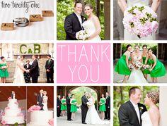 DIY wedding thank you postcards using wedding photos-- more personal than a regular thank you card