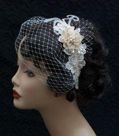 #DBBridalStyles  Bridal Headband with Blusher Veil Freshwater by hemsandbustles