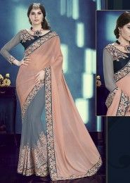 Designer Orange And Grey Colored Chiffon And Net Saree