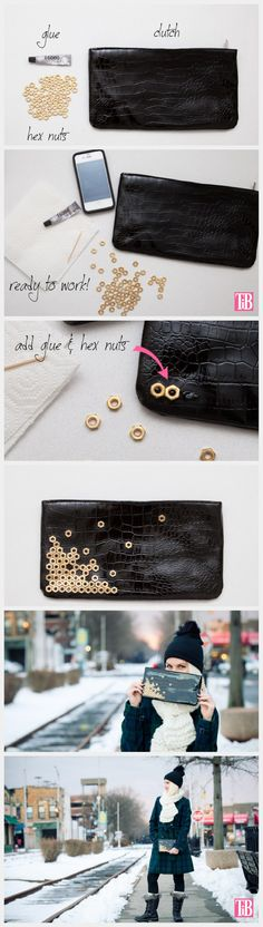hexnuts instead of studs. something different to decorate clutch