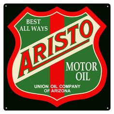 Aristo Motor Oil Sign,  Square 12 x 12 inch .040 Gauge Metal, USA Made Vintage Style Retro Garage Art RG1227 by HomeDecorGarageArt on Etsy