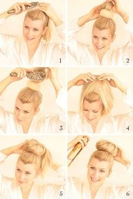 STEP 01 | brush hair into a high ponytail    STEP 02 | fit hair donut over hair tie    STEP 03 | gently tease hair to create volume    STEP 04 | let hair fall around and over the hair donut    STEP 05 | begin tucking hair under the donut, securing with hairpins as you tuck    STEP 06 | finish with hairspray
