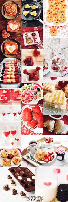 Pensa em fazer um café da manhã especial no Dia dos Namorados? Pra te ajudar trouxe dezenas de inspirações e dicas selecionadas com muito carinho neste post!♥ Então vamos lá! COMIDINHAS COM O CORAÇÃO - APAIXONADAS E APAIXONANTES! Cortadores de coração: Com estes cortadores você vai fazer de tudo! Cortar biscoitos, bolos, pães, massas, frutas e gelatinas. Veja as ideias acima e já anote tudo aquilo que você e seu amor gostam e que você conseguiria fazer para o dia! Forminhas de coração: ... Decoration St Valentin, Kids Meals, Easy Meals, Birthday Breakfast For Husband, Valentines Food, Diy Presents, Breakfast Time, Love Gifts, Creative Food