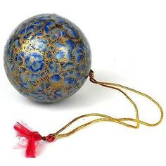 Papier Mache Ball Ornament - inch - Baby Blue Handmade and Fair Trade. This papier mache ball ornament is handmade and hand painted by Indian artisans. The diameter ornament has a loop for hanging. Christmas Makes, Kids Christmas, Christmas Crafts, Christmas Bulbs, Christmas Decorations, Holiday Decor, Ball Ornaments, Holiday Ornaments, International Craft