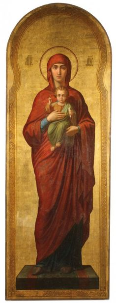 LARGE RUSSIAN ICON OF THE VIRGIN AND CHILD C 1890 : Lot 119
