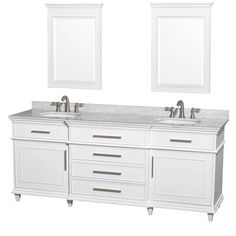 """Wyndham Collection Berkeley White 80-inch Double Bathroom Vanity (White 80"""", ivory top, 24"""" mirrors), Size Double Vanities #bathroomvanitymirrors"""