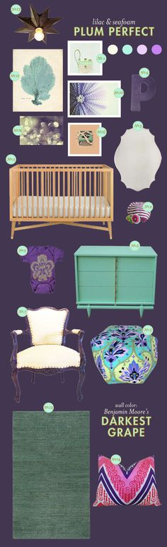 purple and blue baby nursery ideas, close up sea urchin and sea fan photography