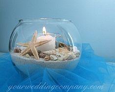Beach wedding centerpiece idea. www.yourweddingcompany.com