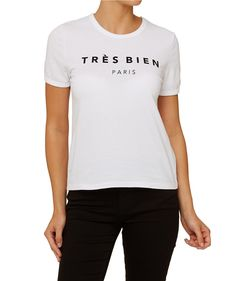 Channel the 90s with the French Retro Tee. This basic tee shirt fits close to the body and features front print.