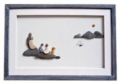 Pebble art family Family of four and dog wall by PebbleArtDream