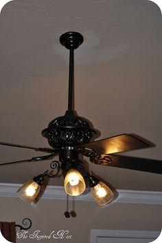 Ceiling fan makeover that would work with ours and I already have the oil rubbed bronze spray paint!.... so doing this!