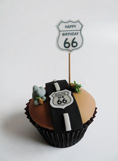 route 66 cupcake for 66th birthday More