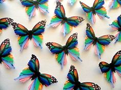 Small RAINBOW MONARCH Set of 12 Edible Butterflies 1.75 Decorative Wafer Paper Butterflies © >> Check out this great image @ : baking decorations