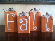 Wood Fall Pumpkin Block set - Seasonal Home Decor for fall, halloween, and thanksgiving decorating by WoodnExpressions on Etsy Thanksgiving Crafts, Thanksgiving Decorations, Fall Crafts, Holiday Crafts, Holiday Fun, 2x4 Crafts, Harvest Decorations, Rustic Thanksgiving Decor, Fall Decorations Diy