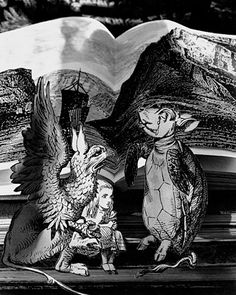 """The Mock Turtle's Story, 1998 Photographs made by Abelardo Morell """"When I began to make photographs illustrating this book by Lewis Carroll I had in mind that books themselves should form the architecture and landscape where the story takes place"""" Fantasy Photography, Conceptual Photography, Still Life Photography, Artistic Photography, Book Photography, Adventures In Wonderland, Alice In Wonderland, Havana, Museum Art Gallery"""