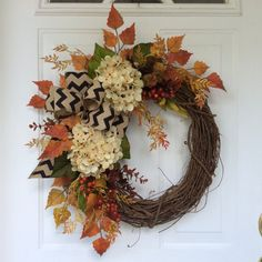 Fall Wreath for Front Door-Rustic Wreath-Autumn Door Wreath-Hydrangea Wreath-Country Wreath-Cottage Chic Wreath-Fall Foliage Wreath