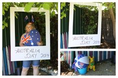 For my Australia Day 2014 party I made my own Photo Booth using a large piece of foam board purchased from lincraft then cutting out the middle. It was hung up in the back yard under the tree creating a great backdrop. I purchased different props from various shops all with an Aussie theme.